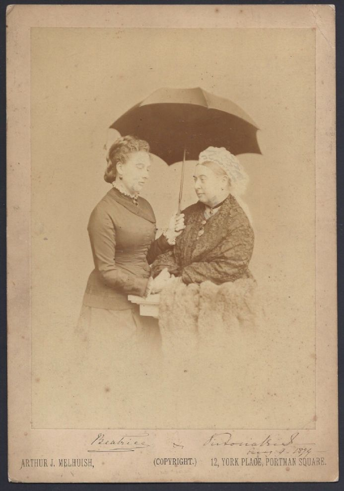 Antique Signed Cabinet Photo by Smiling Queen Victoria & Princess Beatrice 1879